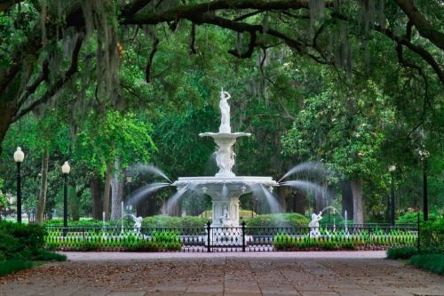 Savannah, Georgia fountain and park