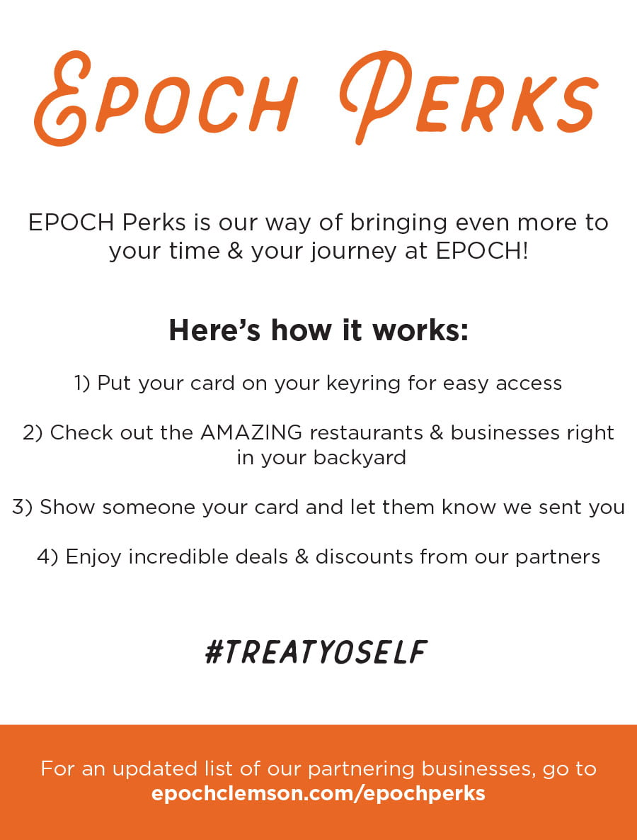 EPOCH white sheet explaining perks